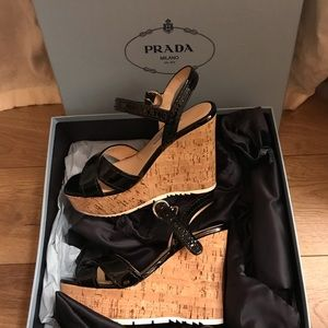 Authentic Prada Cork wedges sz 36.5 (6.5)